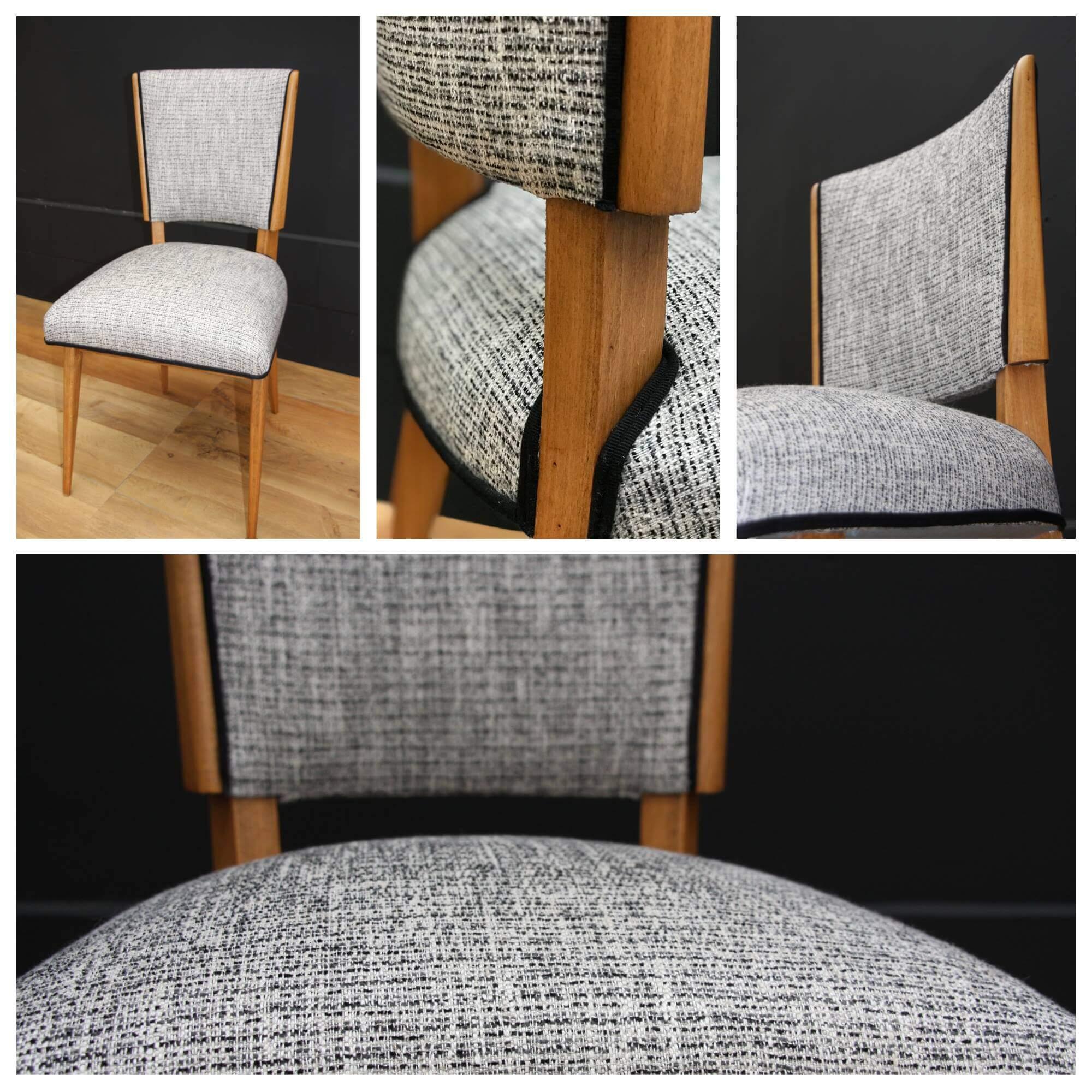 chaise ann es 60 tweed noir et blanc les t tes chineuses. Black Bedroom Furniture Sets. Home Design Ideas